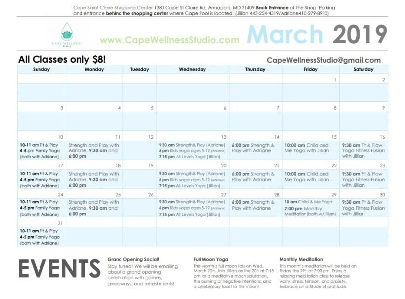 March Schedule Cape Wellness
