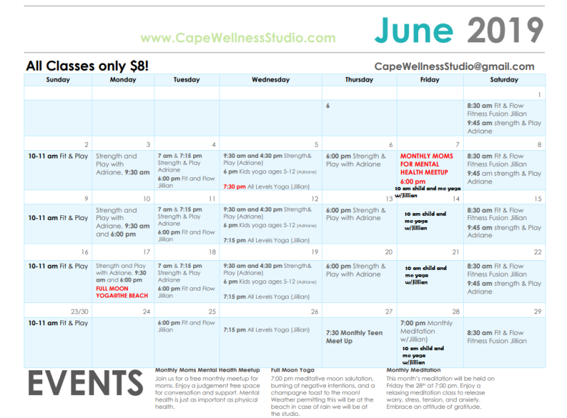 June calendar cape wellness