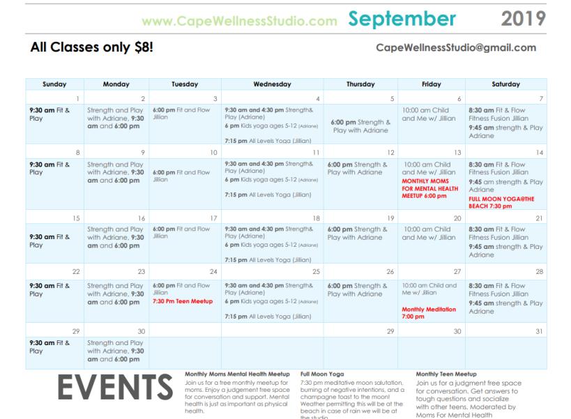 cape wellness september calendar